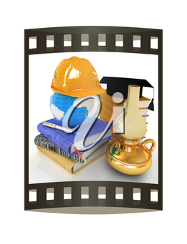 Hard hat and graduation hat on a leather books and notes with retro kerosene lamp. The global concept with Earth of edication for work. 3d render. Film strip.