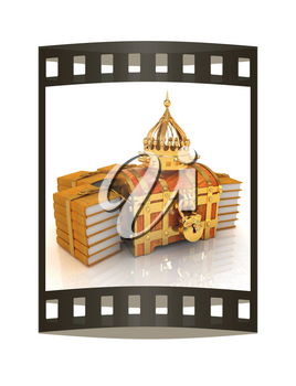 Gold crown on a chest and leather books around. 3d render. Film strip.