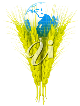 Yellow ears of wheat and Earth. Symbol that depicts prosperity, wealth and abundance. 3d render