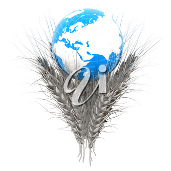 Metal ears of wheat and Earth. Symbol that depicts prosperity, wealth and abundance. 3d render