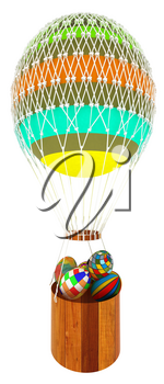 Hot Colored Air Balloon with a basket and Easter eggs inside. 3d render