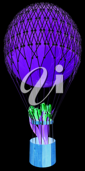 Hot Air Balloon and tulips in a basket. 3d render. On a black background.
