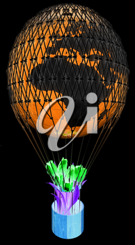 Hot Air Balloon of Earth and tulips in a basket. 3d render. On a black background.