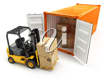 Forklift handling the cargo shipping container box. 3d