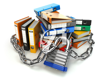 Information protection.  File folder and chain with lock. Data and privacy security. 3d