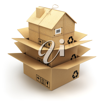 Moving house.  Cardboard box as home isolated on white. Real estate market. Delivery concept. 3d