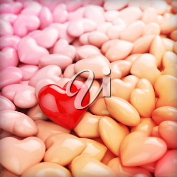 Red hearts texture background for Valentines Day. 3d