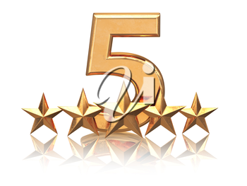 Golden five stars. Service rating of hotels. 3d