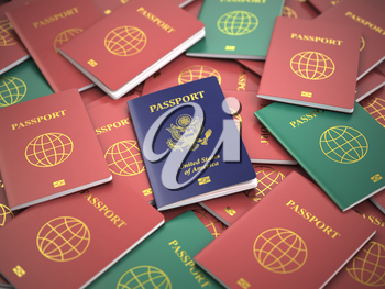 Passport of USA on the pile of different passports. Immigration concept. USA passports. 3d