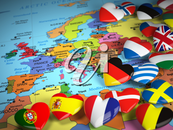 Travel EU concept. Map of Europe and hearts with flags of european countries.  3d