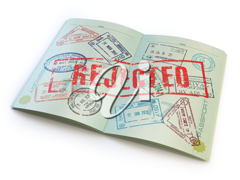 Passport with rejected visa stamp isolated on white. 3d