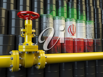 Oil pipe line valve in front of the Iranian flag on the oil barrels. Iranian gas and oil fuel energy concept. 3d illustration
