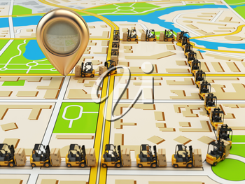 Forklift with cardboard boxes on the city map. Cargo delivery concept. 3d illustration