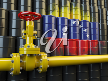 Oil pipe line valve in front of the flag of Venezuela on the oil barrels. Venezuelan gas and oil fuel energy concept. 3d illustration