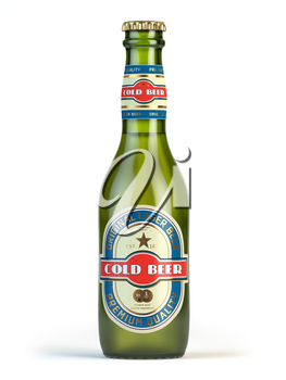 Beer bottle with label cold beer isolated on white. 3d illustration