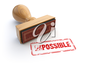 Stamp impossible possible isolated on white. Changing the word impossible to possible. 3d illustration