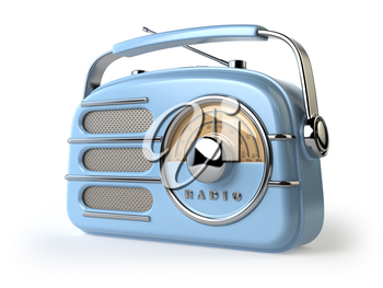 Blue vintage retro radio receiver isolated on white. 3d illustration