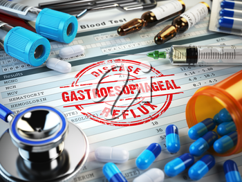 Gastroesophageal reflux disease diagnosis. Stamp, stethoscope, syringe, blood test and pills on the clipboard with medical report. 3d illustration