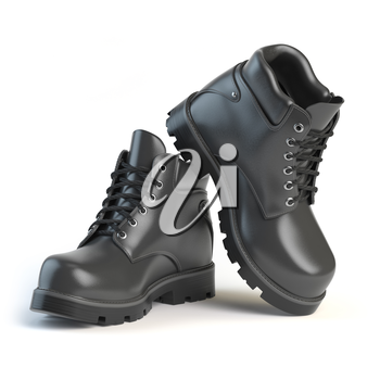 Pair of black boots isolated on white background. 3d illustration