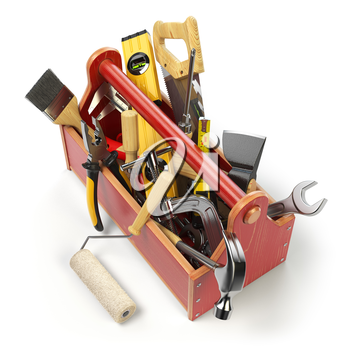 Wooden toolbox with tools isolated on white. Skrewdriver, hammer, handsaw, axe, pliers and wrench. 3d illustration