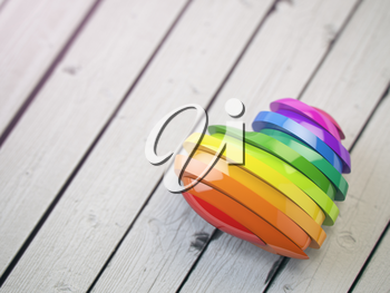 Love valentine rainbow heart on a white wood background. Pride concept. 3d illustration
