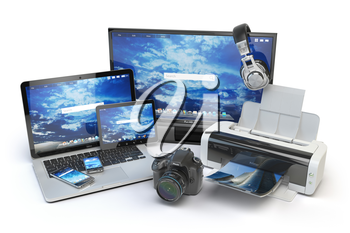 Computer devices and office equipment. Mobile phone, monitor, laptop, printer, camera, headphones and tablet pc. 3d illustration
