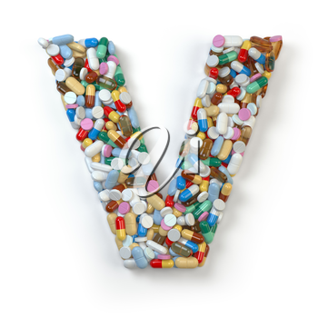Letter V. Set of alphabet of medicine pills, capsules, tablets and blisters isolated on white. 3d illustratio
