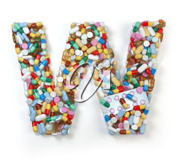 Letter W. Set of alphabet of medicine pills, capsules, tablets and blisters isolated on white. 3d illustratio
