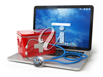 First medical aid or technical support concept. Laptop with first aid kit and stethoscope isolated on white. 3d illustration