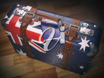 Passport of Australia and suitcase with flag of Australia. Travel or immigration concept.3d illustration