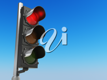 Traffic light with red color on blue sky background. Stop concept. 3d illustration