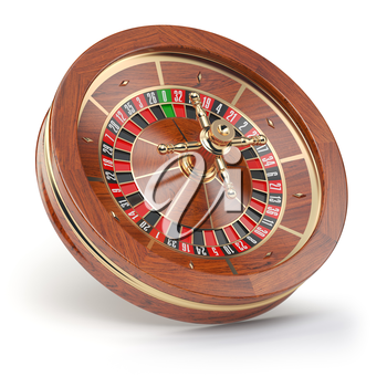 Casino roulette wheel isolated on white background. 3d illustration
