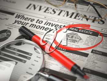 Real Estate is a best option to invest. Where to Invest concept, Investmets newspaper with loupe and marker. 3d illustration
