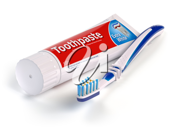 Toothbrush and tube of toothpaste isolated on white background. 3d illustration