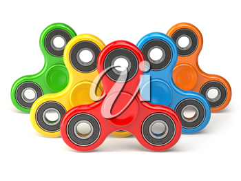 Group of fidget finger spinner stress, anxiety relief toy isolated on white background. 3d illustration
