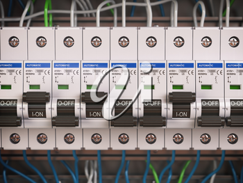 Electric switches in fusebox. Many black circuit brakers in a row. 3d illustration