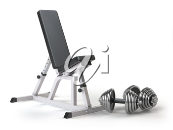 Barbell bench with weight dumbbells isolated on white. 3d illustration