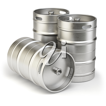Metal beer kegs isolated on white background. 3d illustration