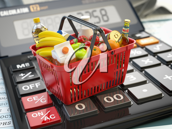 Shopping basket full of grocery foods on calculator. Savings, dieting consumerism concept background. 3d illustration