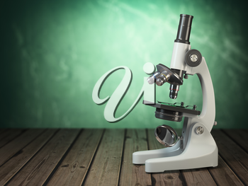 Microscope on wooden table and green vintage background. 3d illustration