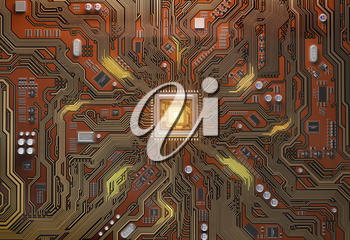 Circuit board with CPU.  Motherboard system chip with glowing processor. Computer�s technology and internet concept. 3d illustration