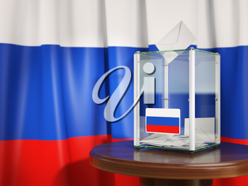 Ballot box with flag of Russia  and voting papers. Russian presidential or parliamentary election. 3d illustration