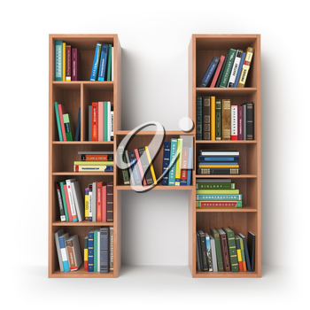 Letter H. Alphabet in the form of shelves with books isolated on white. 3d illustration