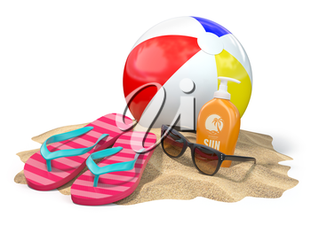 Beach accessories for relaxing. Sunscreen bottle, flip flops, sunglasses and ball onthe sand. 3d illustration