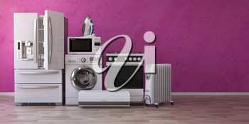 Set of household home appliancess on pink background. Kitchen technics in the new appartments. E-commerce online internet store and delivering of appliances concept. 3d illustration