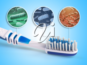 Toothbrush and bacterias. Dental concept. 3d illustration