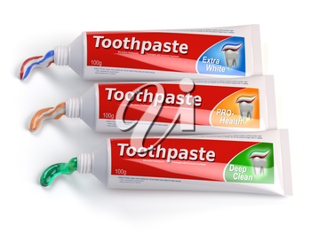 Tubes of toothpaste in different colors and differnt types of toothpaste. 3d illustration