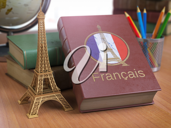 Learn and studiyng French concept. Book with  French flag and Eiffel tower on the table. 3d Iluustration