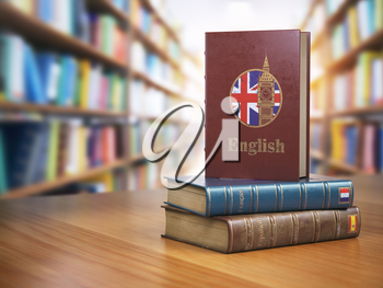 Learn English concept. English dictionary book or textbok with flag of Great Britain and Big ben tower on the cove in the library. 3d illustration