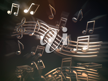 Golden musical notes and clef on the sheet.. Abstract musical background. 3d illustration